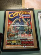 Original 1950's framed CHIPPERFIELDS CIRCUS poster advertising the circus a