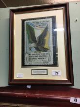 Framed copy of a Republican Propaganda Label issued in California circa 191