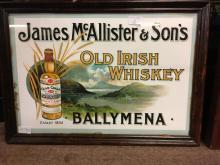 James Mc'Allister & Sons OLD IRISH WHISKEY BALLYMENA framed advertisement.