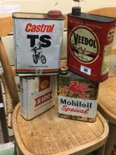VEEDOL OIL, SHELL OIL, CASTROL OIL AND MOBILOIL tin cans.