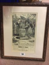 Black and white framed print of SWAN SOAP.
