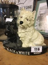BLACK AND WHITE SCOTCH WHISKY Scottie dogs whiskey advertisement.