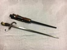 19th. C. French rifle bayonet in original scabbard.