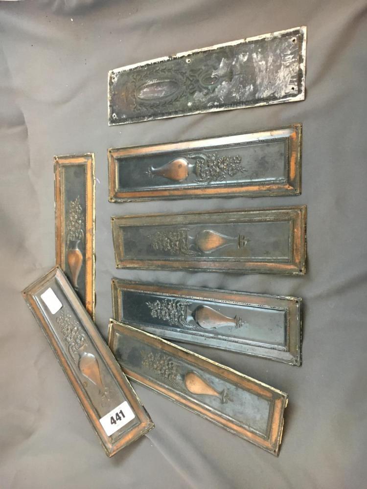 Seven edwardian copper door finger plates for Door finger plates