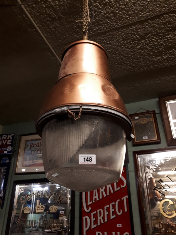 Three 1960s Copper And Glass Hanging Lights