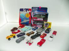 BOX LOT INCLUDING DIE CAST CARS, JAMES BOND DIE ANOTHER