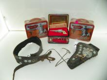 BOX LOT INCLUDING HOPALONG CASSIDY LUNCH BOXES, 6 SHOOT