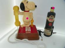 2 PC LOT INCLUDING SNOOPY & WOODSTOCK TELEPHONE & BLACK