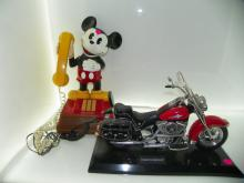 2 PC LOT INCLUDING MICKEY MOUSE PHONE & HARLEY DAVIDSON