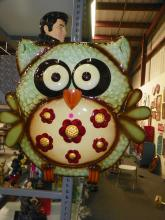 METAL OUTDOOR OWL PAINTED WALL D?COR