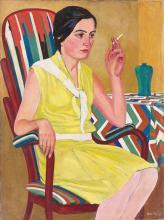 """Otto Möller - """"Porträt Marga Möller (im gelben Kleid)"""". 1930"""