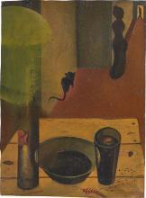 Gottfried Brockmann - Untitled (Interior with cat). Circa 1923