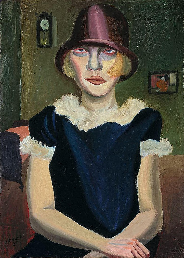 """Hans Grundig """"Mädchen mit rosa Hut"""