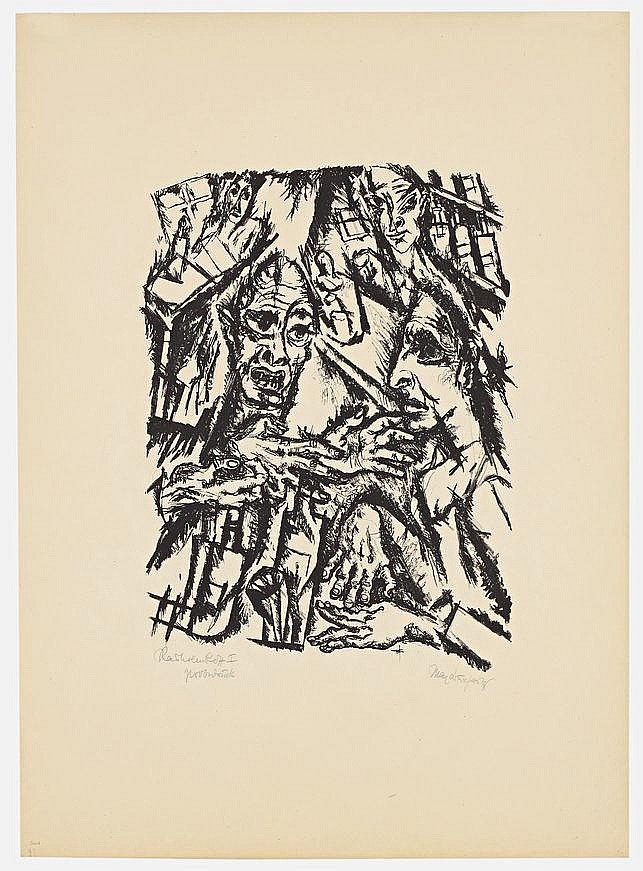 Burchartz, Max 1887 - 1961 Original half-linen-covered portfolio with 10 lithographs each on paper