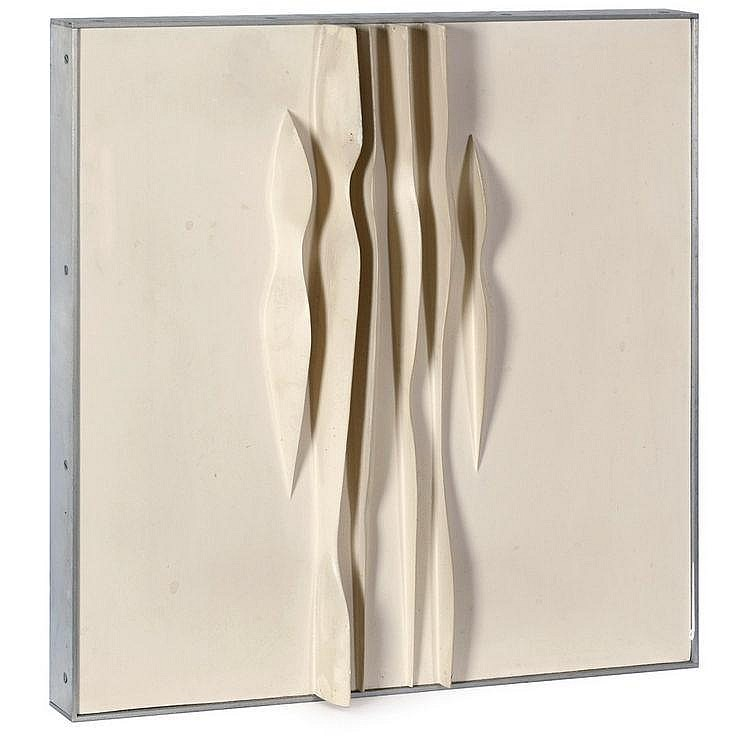 Kissel, Rolf 1929 - 0 Wood relief, painted white