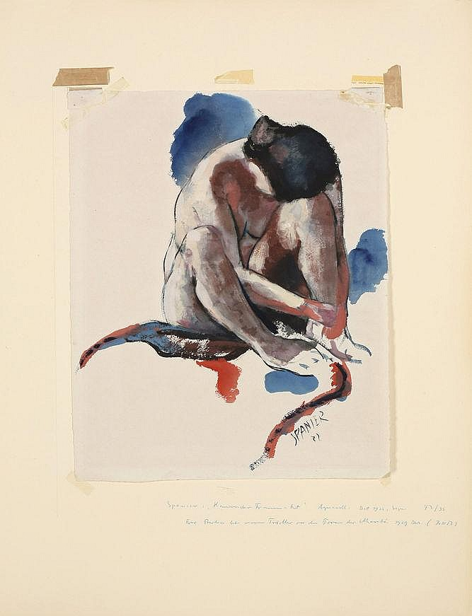 Spanier, Will 1894 - 1957 Watercolour on fibrous Japan paper