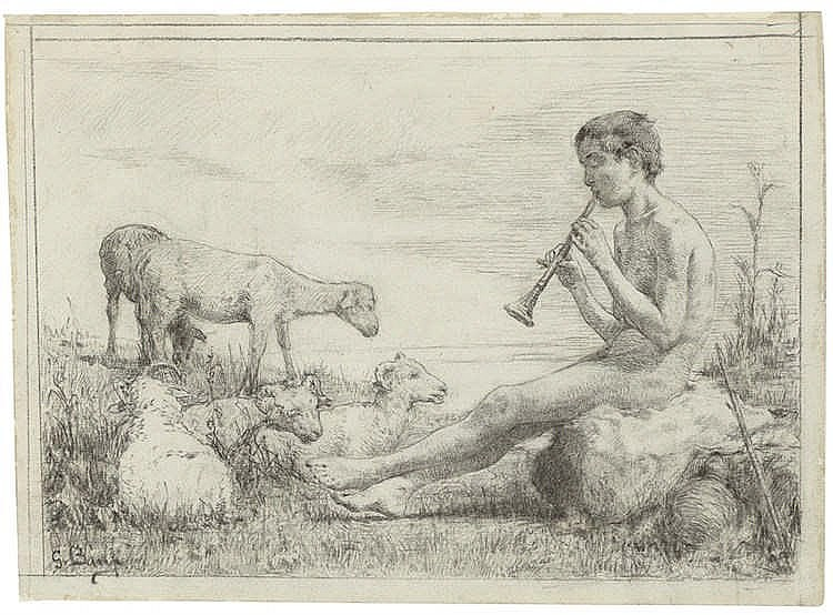 Gioacchino Banfi - Junger Schafhirte, die Schalmei spielend