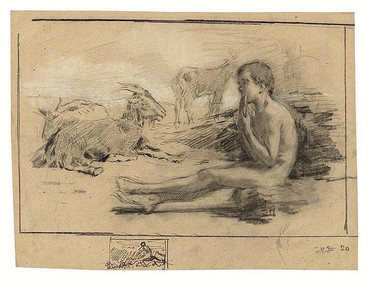 Gioacchino Banfi - Junger Ziegenhirte, die Panflöte spielend