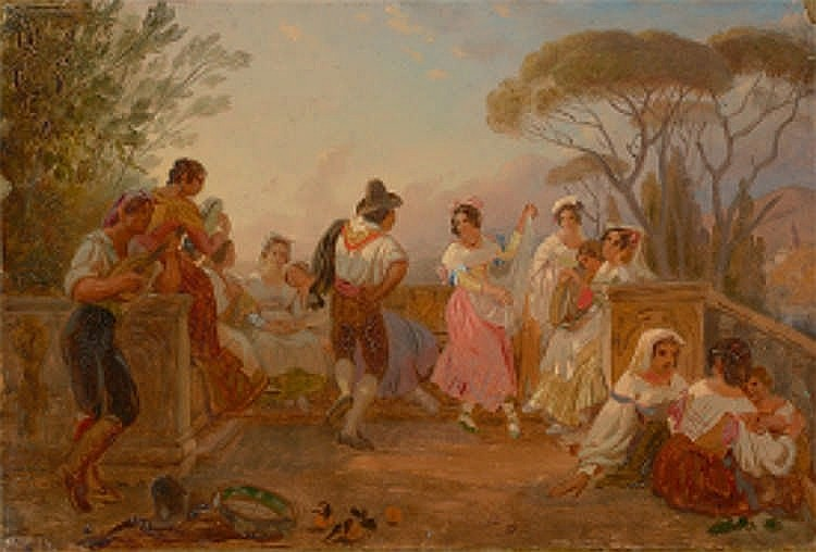 Johann Conrad Zeller - Tanzende Italiener auf einer Terrasse