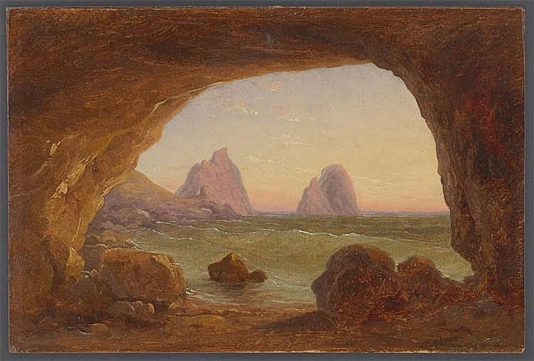 Gustav von Haugk - Blick aus einer Grotte auf die Faraglioni