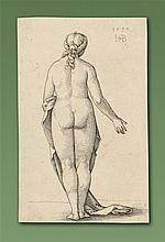 Sebald Beham - Female nude seen from behind, after Albrecht Dürer (1741–1528). Proportional study of a female body