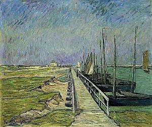 Theo von Brockhusen Marggrabowa/Ostpreussen 1882 - 1919 Berlin JETTY IN NIEUPORT. 1909 Oil on canvas. 80.5 x 96.5 cm