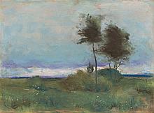 Lesser Ury - Landschaft mit Baumgruppe  Signed lower right: L. Ury  Pastel on cardboard  141/8 x 191/8in.