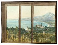 Blick aus dem Fenster auf eine Bucht in Italien