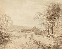 Weggabelung vor einem Dorf (Schlesien?)
