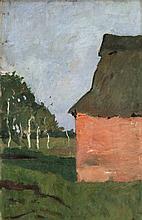 """""""Rotes Haus. Verso: Landschaft mit Birkenstämmen am Moorgraben"""