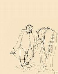 """Holz, Paul 1883 - 1938 """"Alter Bauer mit Fohlen"""""""