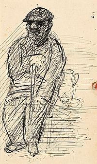 Holz, Paul 1883 - 1938 Sitzender Mann mit Stock