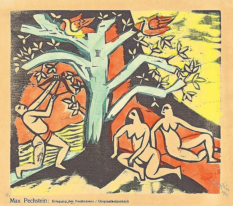 """Pechstein, Hermann Max 1881 - 1955 """"Erlegung des Festbratens"""