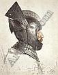 [ Art ] Adolph von Menzel  HELM MIT OFFENEM VISIER, GETRAGEN VON EINEM MODELL