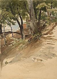 Mohn, Viktor Paul 1842 - 1911 Bäume im Elbsandsteingebirge