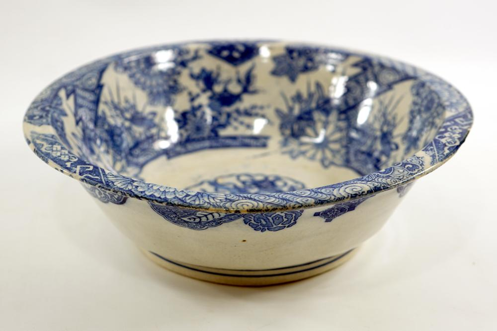 An old Japanese ceramic bowl painted with symbols and decorations from Japanese culture, diameter 28.5, height 9 cm