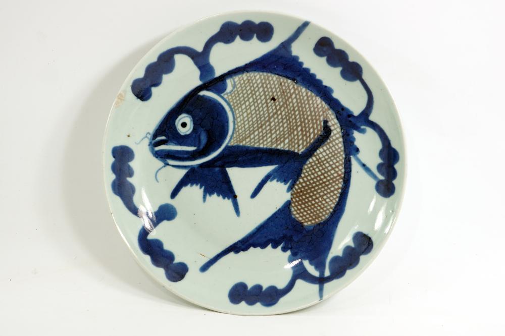 Japanese Imri Plate Meiji Period Painting of carp and symbols from Japanese culture Handmade diameter 26.5 cm
