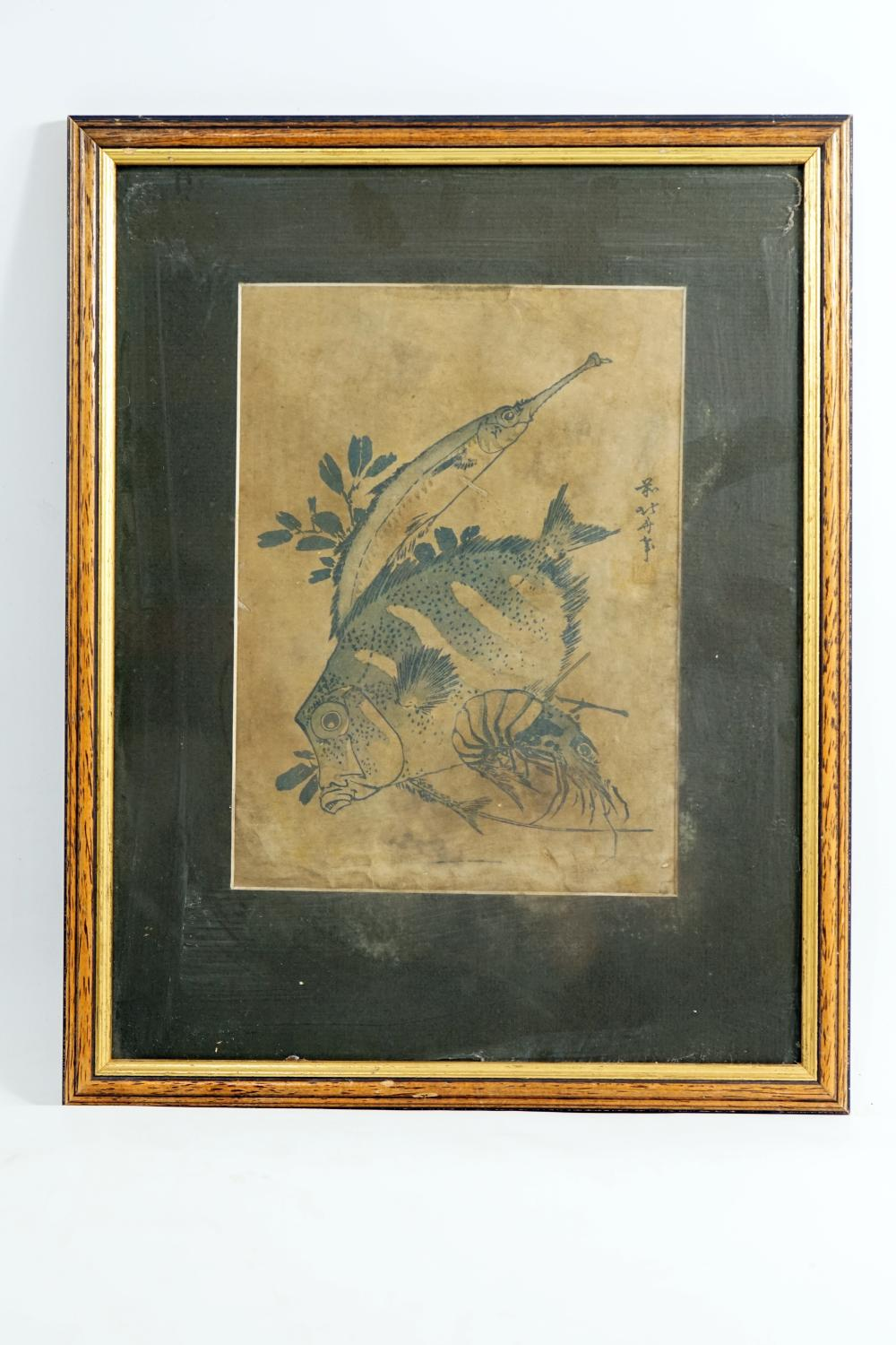 Japanese woodcut, (Akio-ah) Painting of fish signed by the artist Size 17.5 * 24 cm