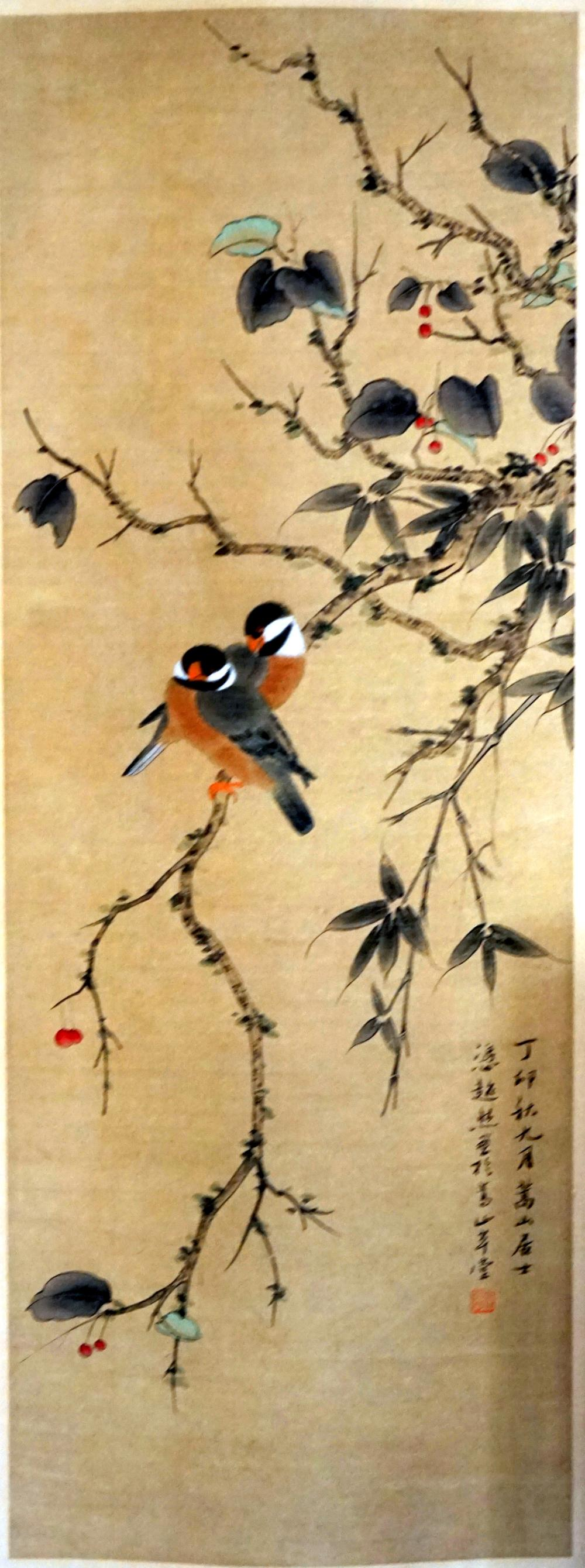 Japanese scroll Meiji period, signed, description of nature, size 185 * 47