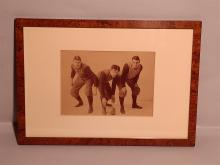 Antique Photography 3 Rugby Players Framed