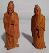 Antique Carved Wooden Asian Figures
