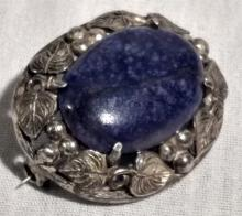 Antique Brooch/Pin Silver and Blue Lapis
