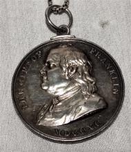 1800's Silver The Gift of Franklin Medal to Joseph V. Maggionni