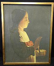 Georges de la Tour,(French, 1593-1652) Reproduction o/c. Girl w/candle.