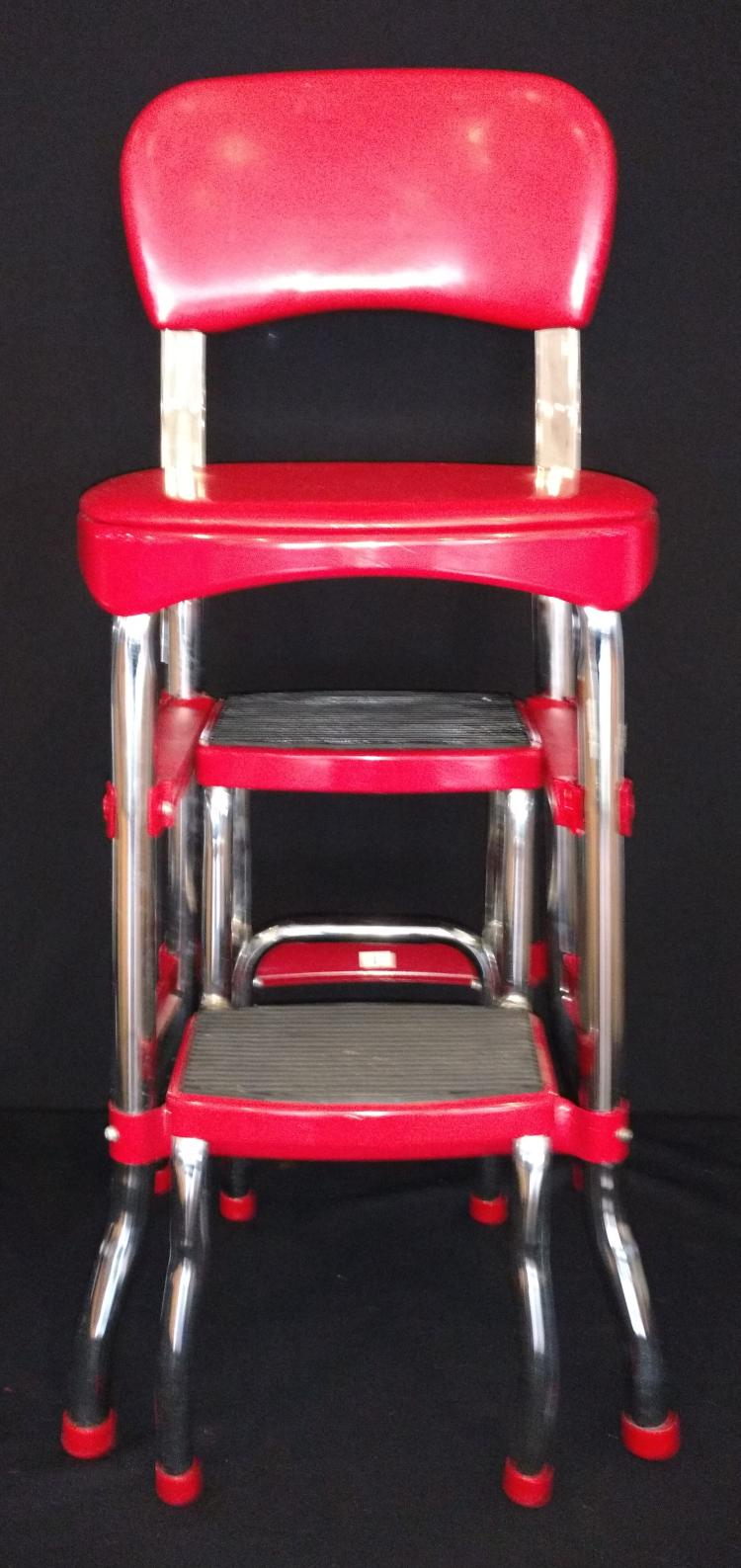 Retro cosco step stool chair combo in red chrome for H furniture ww chair