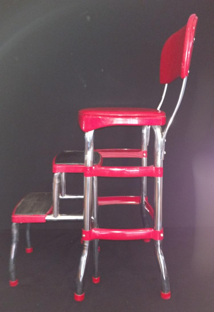 Retro Cosco Step Stool Chair Combo In Red Amp Chrome