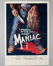 """Maniac"" 1 sheet poster, Signed by Tom Savini"