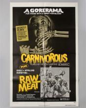 "Gorerama Double Feature""CARNIVOROUS & RAW MEAT"" 1 sheet poster,"