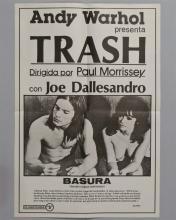 "Andy Warhol ""TRASH"" 1 sheet poster in Spanish"
