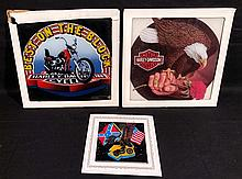 Harley Davidson, 3- 1970's-80's Carnival Prize Painted Glass Signs.